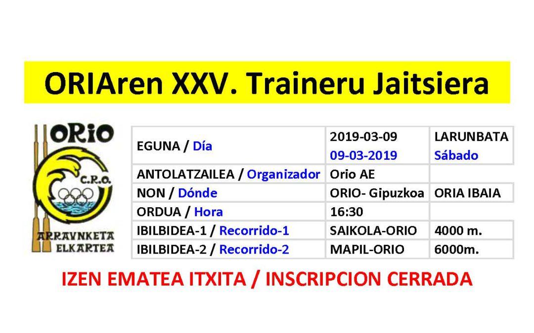 XXV Descenso de Traineras del Oria, inscripcion cerrada