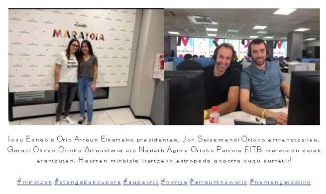 Orio Arraunketa Elkartea Haurren minbizia ikertzeko EITBko maratoian!!