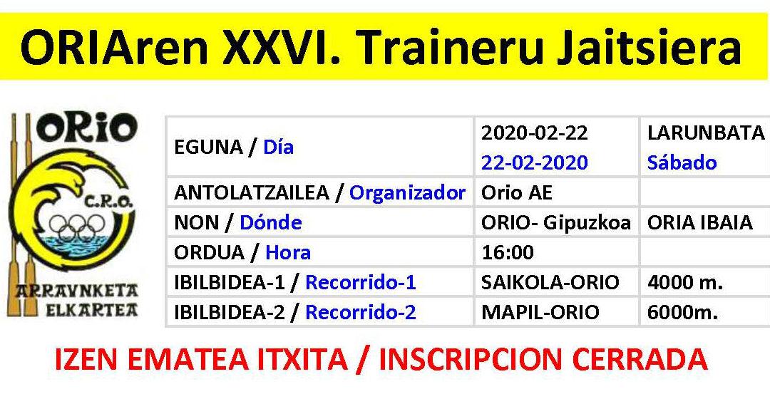 Cerrada la Inscripción del XXVI Descenso de Traineras del Oria