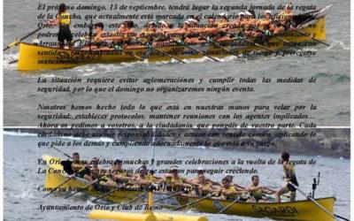 El Ayuntamiento y Arraun Elkartea publicamos una nota conjunta para pedir prudencia y responsabilidad a l@s aficionad@s